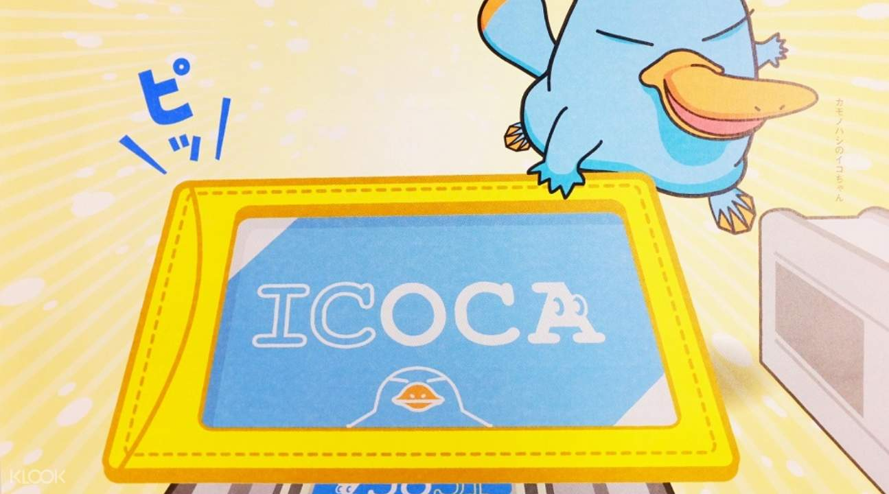 a cartoon platypus tapping an ICOCA IC Card